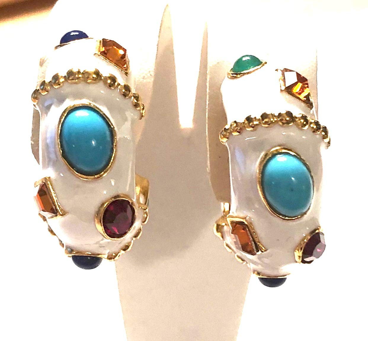 Kenneth Jay Lane, White Enamel Gold Clip Earrings with Turquoise CABOCHON and GEM Stones Accents
