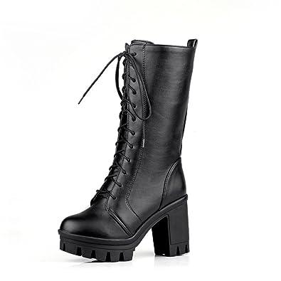 2db6961b77615 Amazon.com   Lucksender Womens Lace Up Square Heel Platform Mid-Calf ...