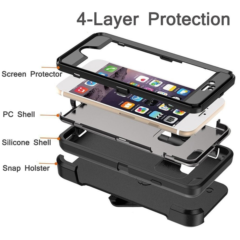MBLAI iPhone 7 Plus Case, Glass Screen Protection Heavy Duty Defense Case 4 Layers Rugged Rubber Shockproof Drop Proof with Belt-Clip Case Cover for Apple iPhone 7 Plus New Version Protective Case by MBLAI (Image #5)