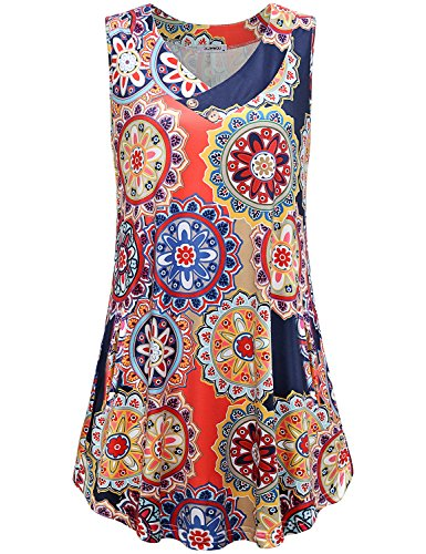JCZHWQU Shift Dress for Women with Pockets, Feminine Comfy V Neck Sleeveless Lightweight Trendy Colorful Floral Printed Maternity Tunic Tank Dress Plus Size Fashion Clothes Navy Red XXL ()
