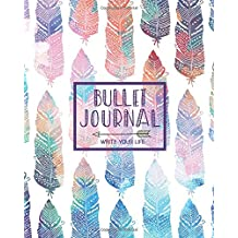 "Bullet Journal Dot Grid for 90 Days, Numbered pages quarterly journal diary, Bohemian Feather African Colorful Tribal: Large bullet journal 8x10"" with 150 blank dot grid pages with number"