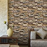 squarex 3D Wall Paper Brick Stone Rustic Effect Self-Adhesive Wall Sticker Home Decor (Multicolor, Size:45 X 100cm)