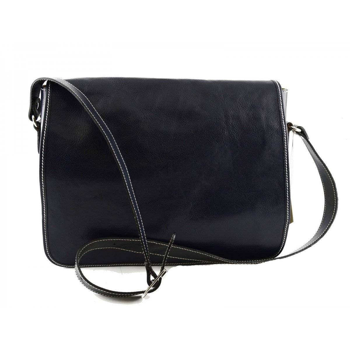 Leather Messenger Bag Color Dark Blue