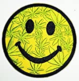 pot leaf fabric - HHO Foursome Toys Pot Leaf Smiley Happy Smile Face Patch Embroidered DIY Patches, Cute Applique Sew Iron on Kids Craft Patch for Bags Jackets Jeans Clothes