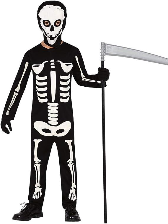 NET TOYS Escalofriante Disfraz Esqueleto para niño - Negro-Blanco ...