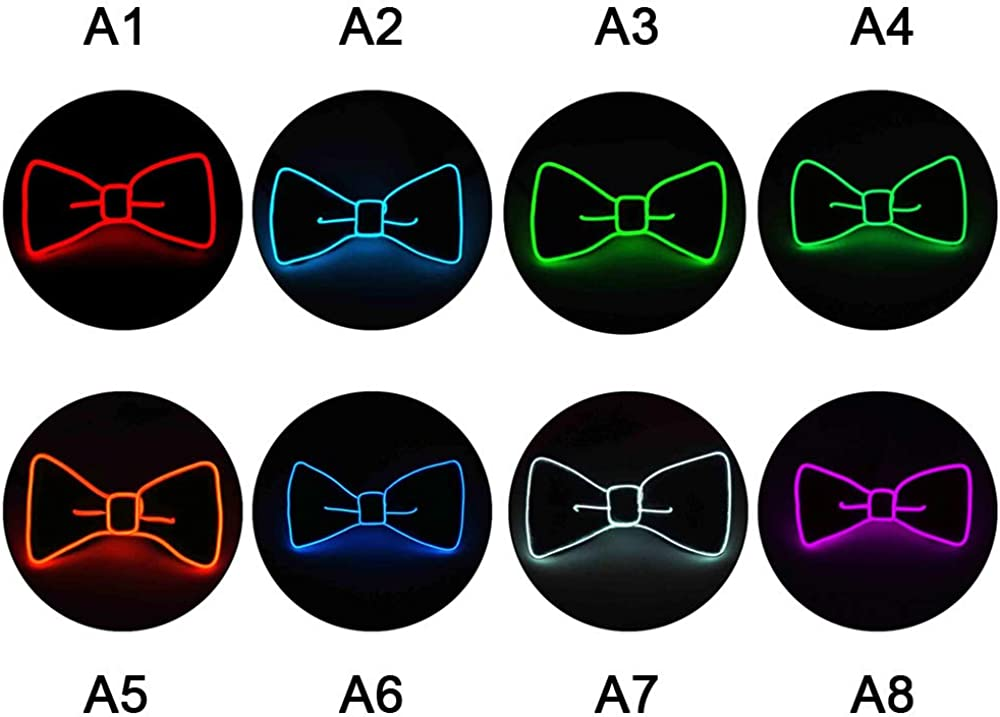Keebgyy Luminous Bow Tie Sound Activated Light Up Bow Tie for Stage Performance Birthday Wedding