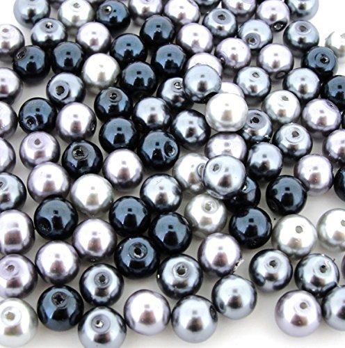 (Beads Direct USA's Glass Pearls Mix 100pcs 8mm - Silver-Grey Mix)