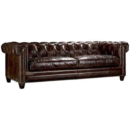 Amazon.com: Hooker Furniture Chester Stationary Leather Sofa in ...