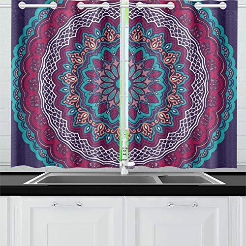 Two Arabesque Tier - VvxXvx Ornamental Round Lace with Damask and Arabesque Kitchen Curtains Window Curtain Tiers for Café, Bath, Laundry, Living Room Bedroom 26 X 39 Inch 2 Pieces