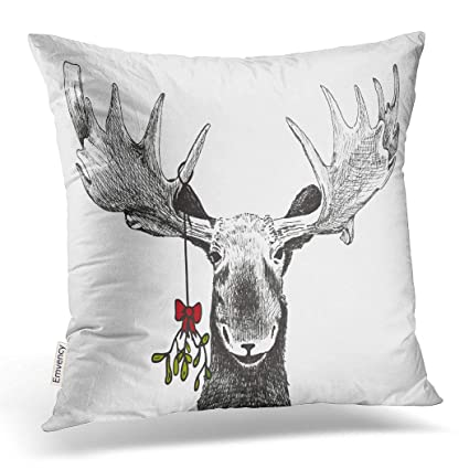 Emvency Decorative Throw Pillow Cover Square Size 20x20 Inches Fun  Christmas Funny Sketch Of Big Smiling Moose Winter Pillowcase With Hidden  Zipper