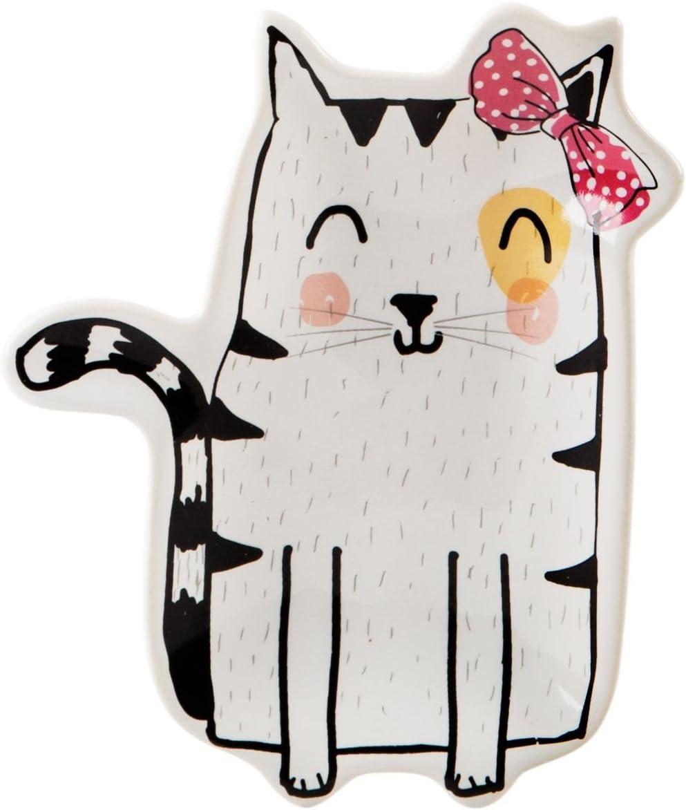 "Home Essentials Ceramic White Cat Shaped Trinket Dish Ring Holder, 5"""