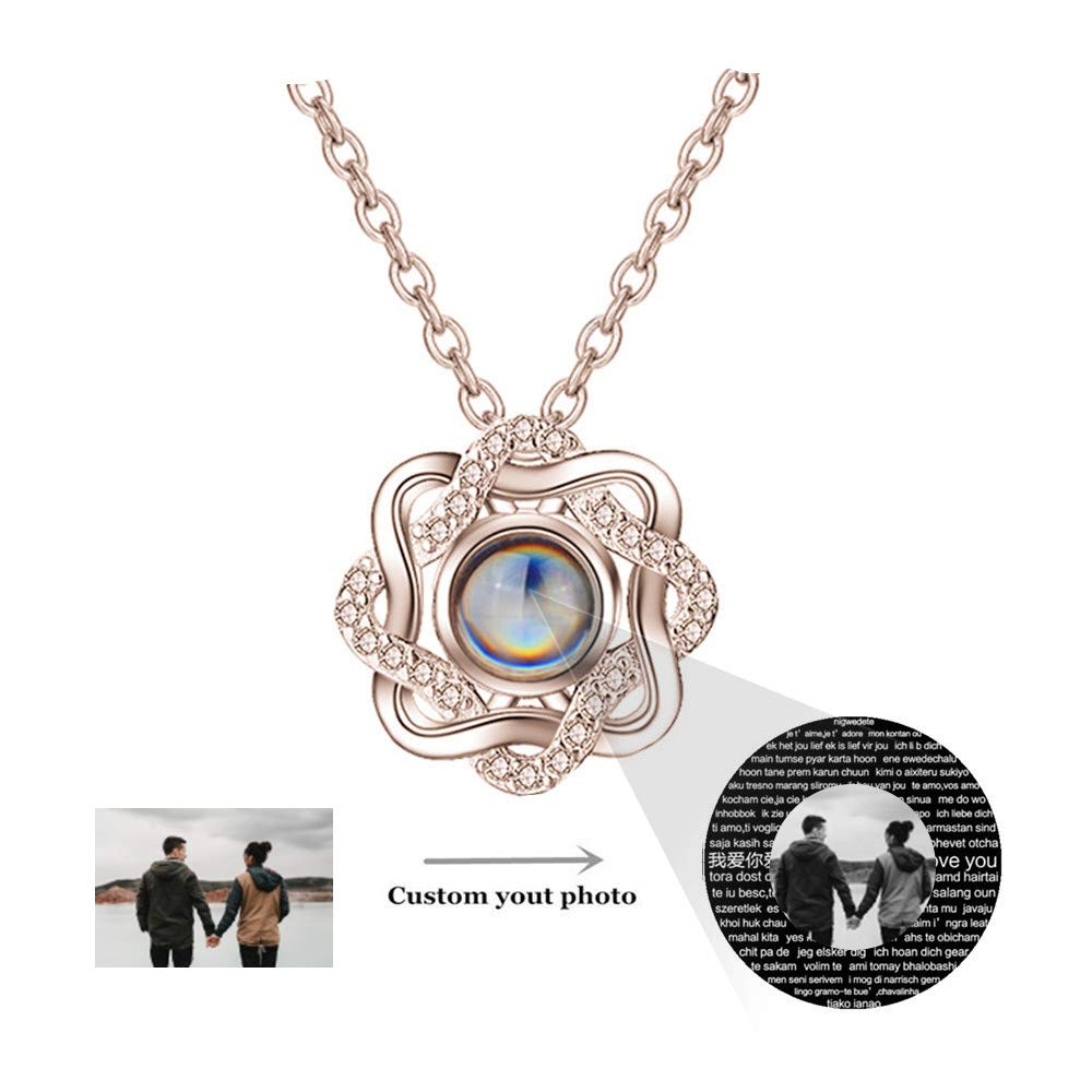 ZHJ8 Custom Photo Projection Necklace I Love You Necklace 100 Languages Projection Pendant Loving Memory Collarbone Necklace