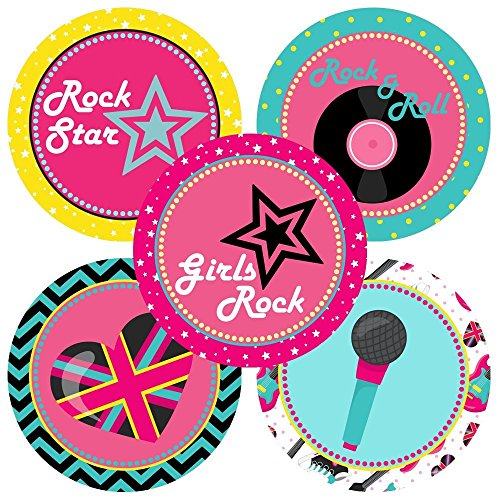 Rock Star Band Sticker Favor Labels - Girl Music Birthday Baby Shower Party Supplies - Set of 50 ()