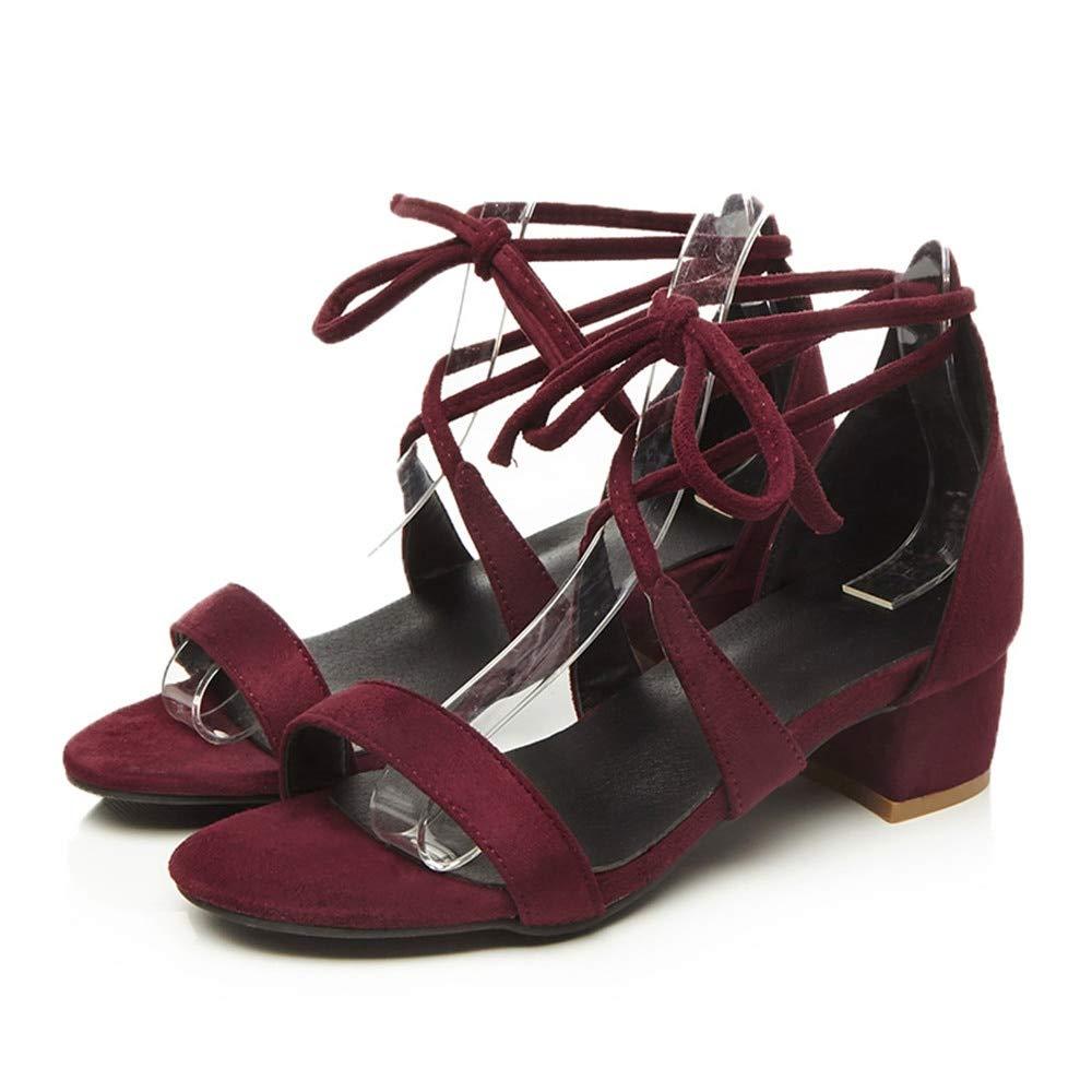 MENGLTX Talon Aiguille Talons Hauts Sandales Taille 33-42 Sandales pour Femmes Nouvelles Arrivées Printemps Été Fashion Mode Talons Chaussures pour Femmes Noir Vin Chaussures Rouges