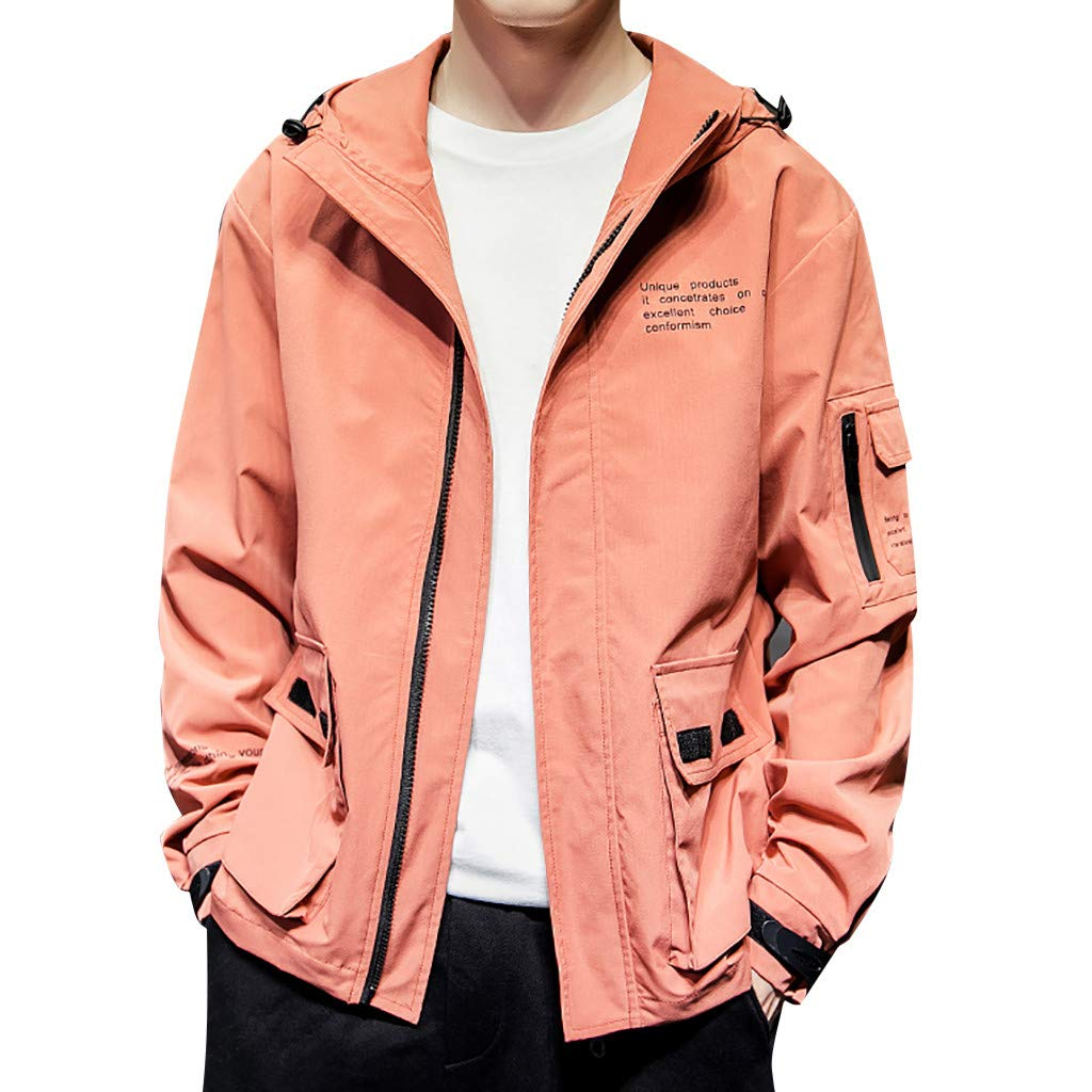 SNOWSONG Mens Casual Autumn Coat Hooded Outwear Lightweight Utility Zip up Jacket Red by SNOWSONG