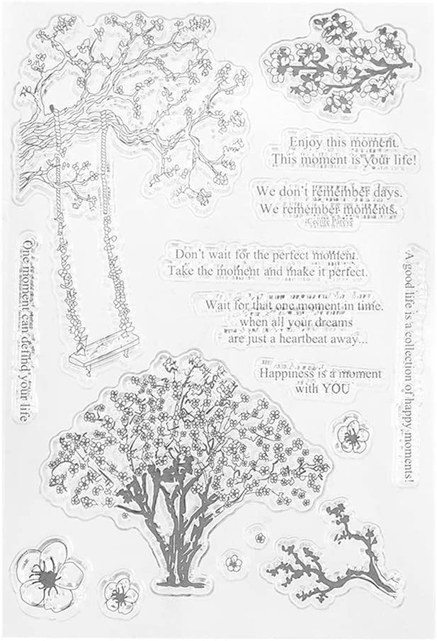 WuLi77 Peach Tree Silicone Silicone Clear Stamps for Card Making Stencils DIY Embossing Photo Album Craft Art Handmade Gift Scrapbooking