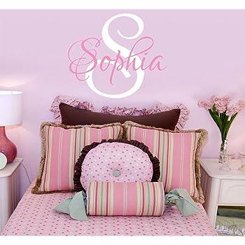 Amazon.com: Girls Nursery Personalized Custom Name Wall Decals, Baby ...