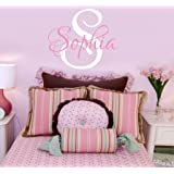 """Girls Nursery Personalized Custom Name Wall Decals, Baby Wall Stickers for Girls, 16"""" W by 14"""" H, Girl Name Wall Decal, Wall"""