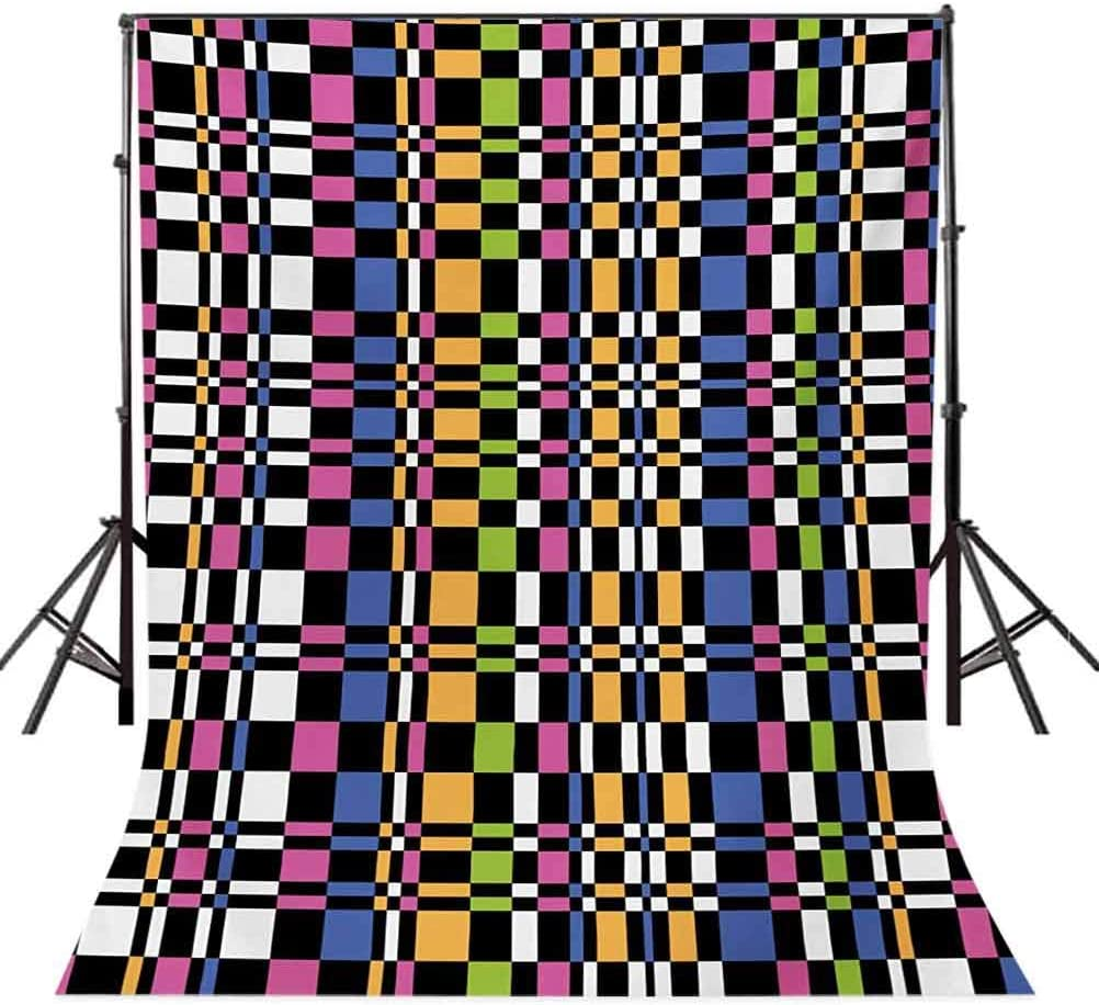 Colorful 6.5x10 FT Photography Backdrop Abstract Checkered Pattern Geometric Optical Artwork Psychedelic Striped Mosaic Background for Party Home Decor Outdoorsy Theme Vinyl Shoot Props Multicolor