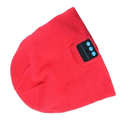02f1b8ae9d3 LIV Warm Beanie Hat Wireless Bluetooth Smart Cap Headset Headphone Speaker  (Red)  Musical Instruments