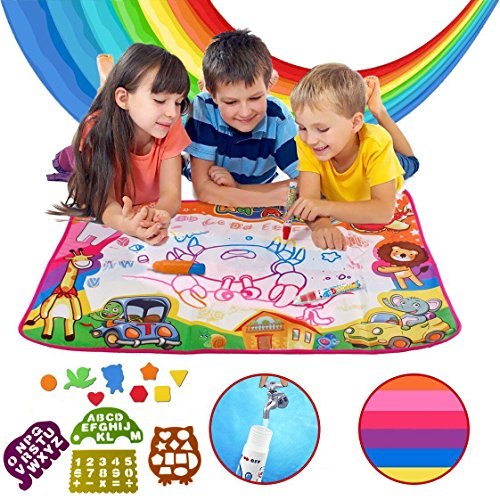 HKDA Kids Toys,Water Drawing Mat, Large Size (34.5 22.5) Aqua Magic Doodle Painting Board with Built-in 6 Colors, 2 Magic Pens, 1 Brush, 4 Pack and 8 Models for Girls and Boys