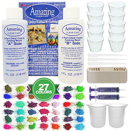 (Amazing Clear Cast Bundle - Amazing Clear Cast Resin 8-Ounce, Pixiss 27 Colors Resin Tinting Mica Powders (Assorted Colors), Pixiss Mixing Sticks, 2X 100ml Silicone Measuring Cups, 2X 10ml Syringes)