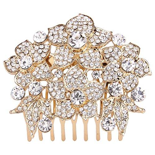 EVER FAITH Women's Austrian Crystal Wedding Elegant Flower Cluster Hair Comb Clear Gold-Tone by EVER FAITH