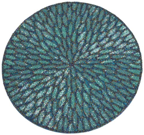 SARO LIFESTYLE 3517.TE15R Round Placemat, 15-Inch, Teal(Sold as Pack of 4) by SARO LIFESTYLE