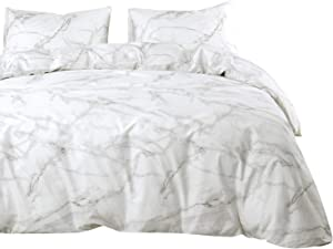 Wake In Cloud - Marble Duvet Cover Set, 100% Cotton Bedding, Grey Gray Black and White Modern Pattern Printed, with Zipper Closure (3pcs, Queen Size)