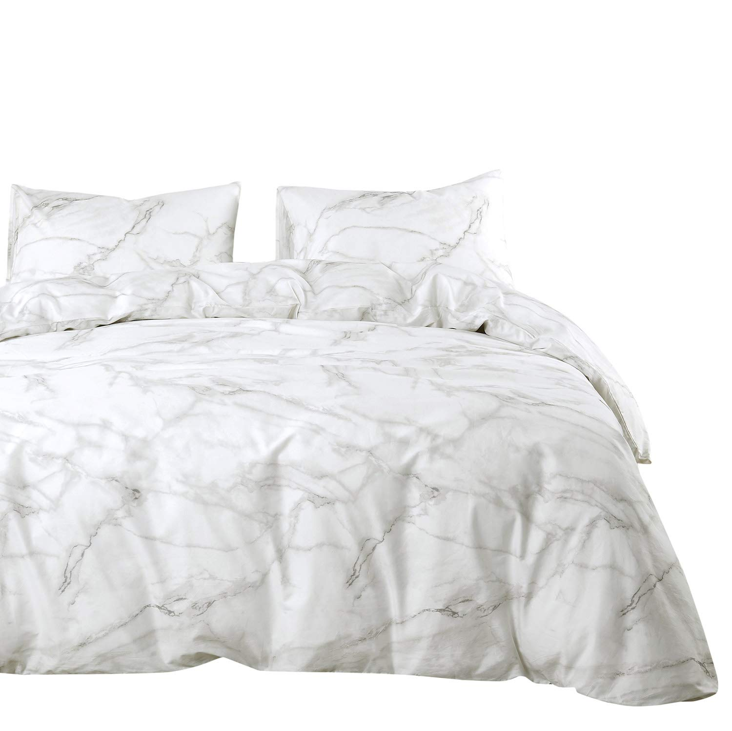 Wake In Cloud - Marble Comforter Set, 100% Cotton Fabric with Soft Microfiber Fill Bedding, Grey Gray Black and White Modern Pattern Printed (3pcs, Queen Size)