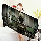 Anhounine 3D Printed Microfiber Beach Towel Industrial Decor Collection Industrial Machines in Factory Drilling Manufacturing Appliances Hardware Urban Image Thick Towels 63''x31.5'' Pale Green