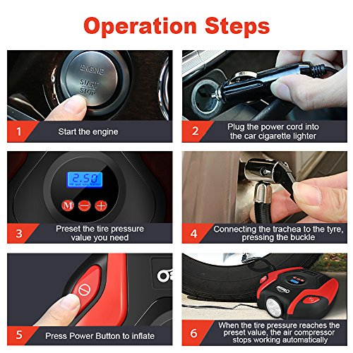 Oasser Air Compressor Tire Inflator Pump Electric Portable Air Infaltor with Digital LCD LED Light Auto Tire Pump 12V DC 150 PSI for Car Truck Bicycle RV and Other Inflatables P6 by Oasser (Image #6)