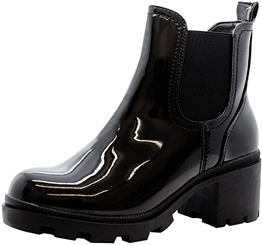 Ladies Winter Ankle Boots Womens Chelsea Block Chunky Heel Zip Up Shoes Size UK