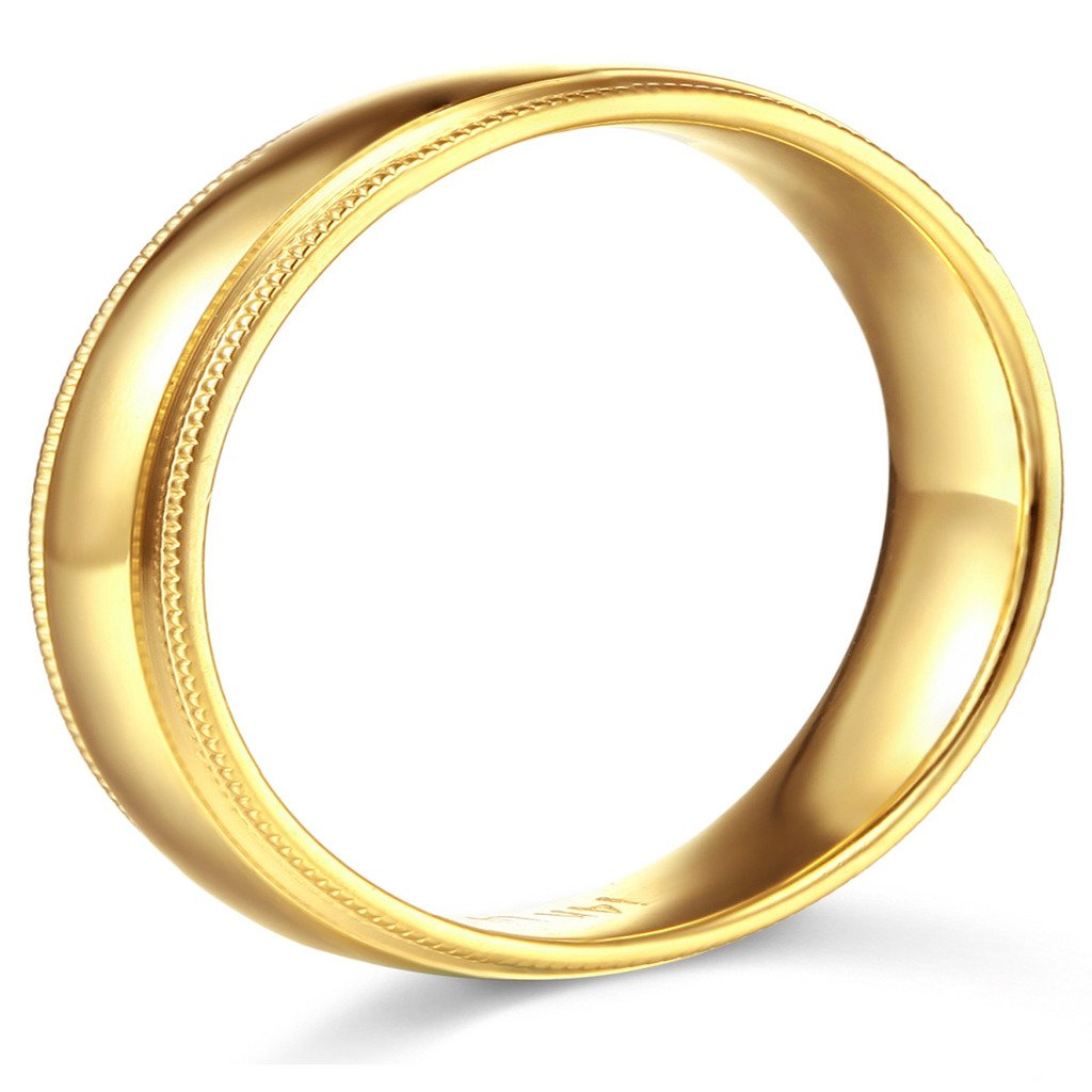 14k Yellow Gold 7mm Comfort FIT Plain Milgrain Wedding Band - Size 12 by GM Wedding Collection (Image #2)