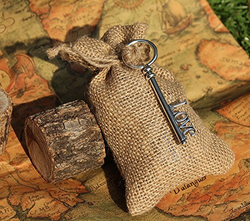 20 Small Rustic Natural Burlap Bags w/ Love Skeleton Key Charm Decor Wedding Favor Candy Jute Bag Wedding Decor
