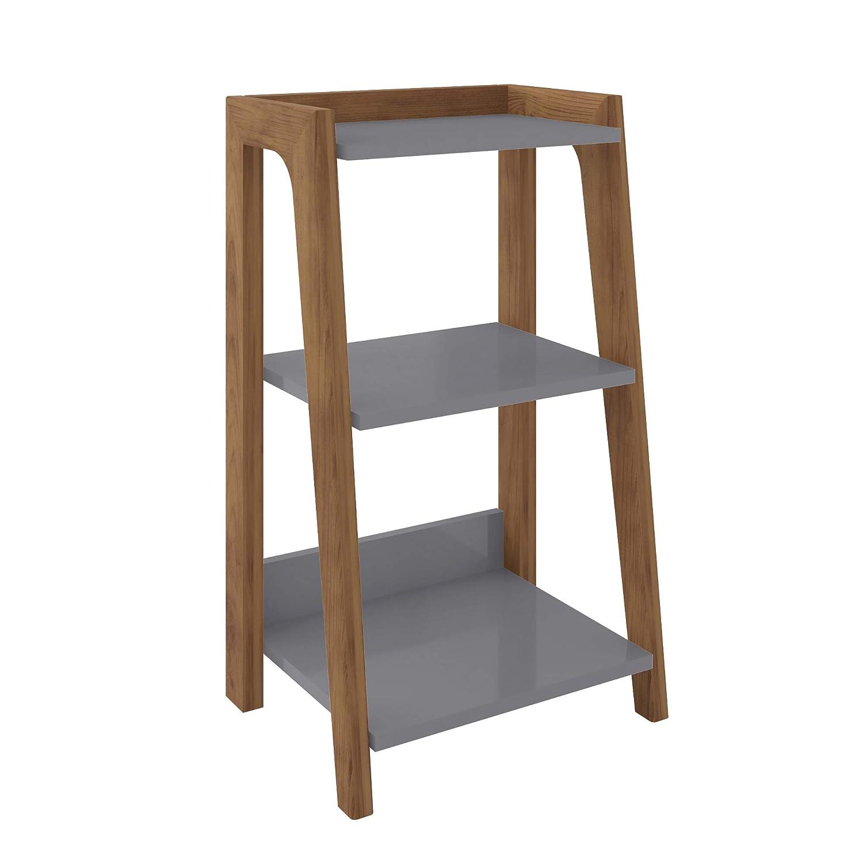 """Manhattan Comfort 9LC Gowanus Ultra Modern 3 Shelves Living Room Ladder Side Table, 15.75"""", Grey"""
