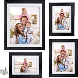 Giftgarden Black Picture Frame Set Multiple Sizes with Mat and HD Glass Front, Assorted Photo Frames Two 4x6, One 5x7, 8x10 for Wall Art Decor or Tabletop Display, 4 Pack