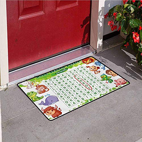 Jinguizi Word Search Puzzle Commercial Grade Entrance mat Educational Game for Kids Children Cute Sweet Animals Worksheet Print for entrances garages patios W31.5 x L47.2 Inch Multicolor
