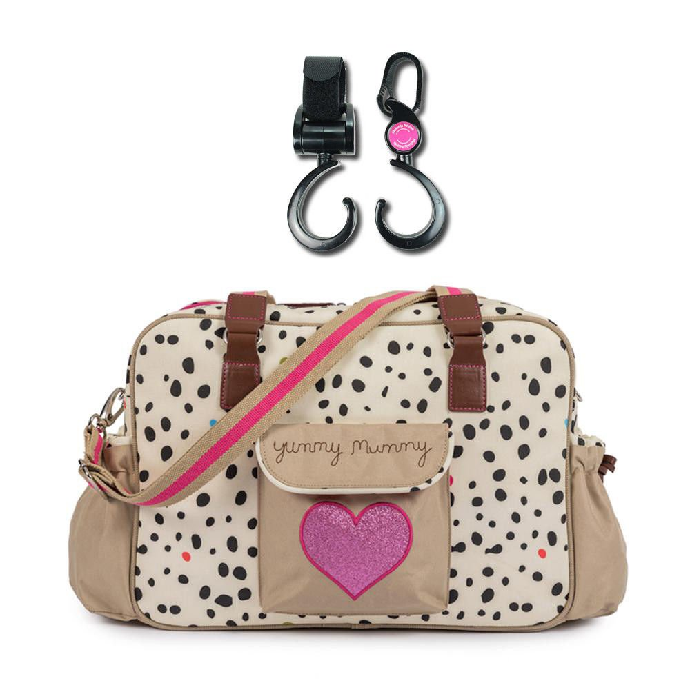 Pink Lining Yummy Mummy Baby Changing Nappy Bag Plus 1 Pack of Happy Mummy Hook n Stroll Pram Clips - Dalmation Fever