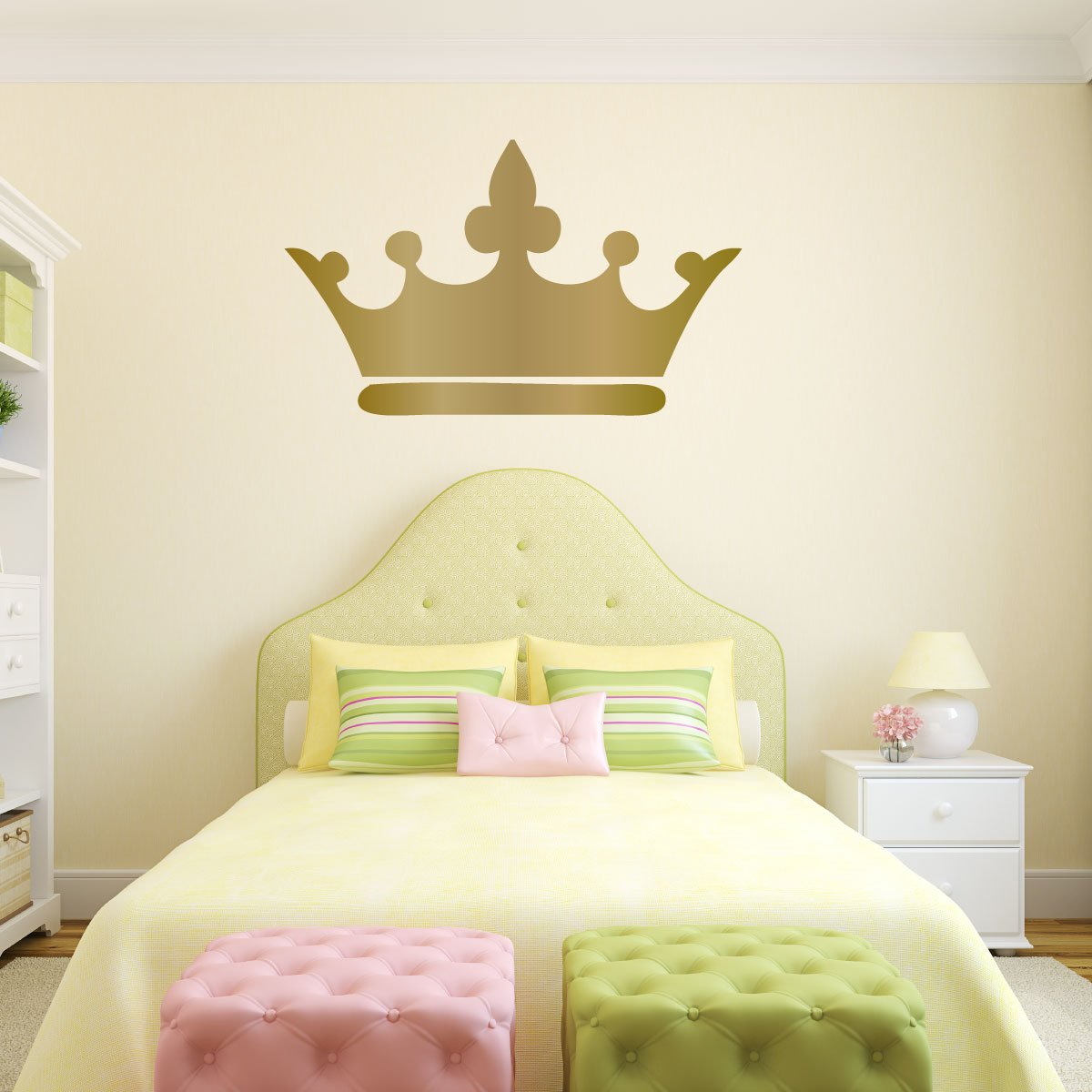 Amazon.com: Princess Crown Wall Decal - 25in x 15in Metallic Gold ...