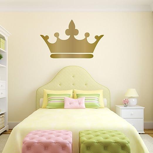 Amazon.com: Princess Crown Wall Decal - 25in x 15in Metallic Gold ...