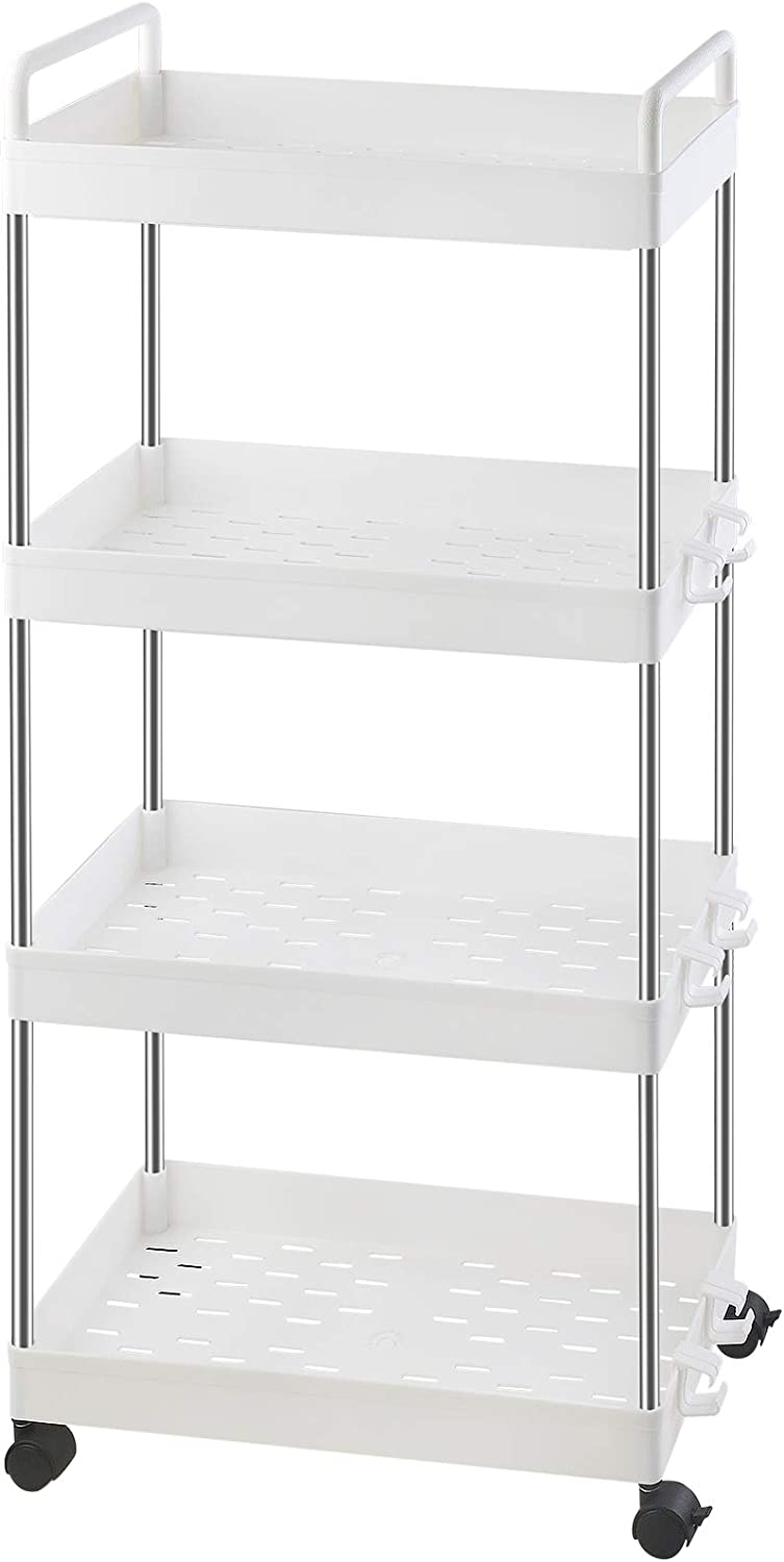 Ronlap 4 Tier Classic Storage Cart, Mobile Shelving Unit with Handle, Rolling Utility Cart Slide Out Storage Organizer Tower for Kitchen Bathroom Laundry Room, White