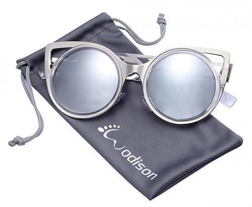 WODISON Mujeres clásicas gafas de sol de marco de metal redondo del estilo de ojo de gato para vidri...