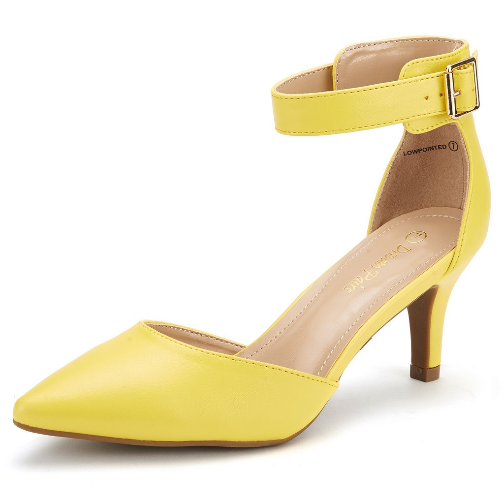 DREAM PAIRS Women's Lowpointed Yellow Pu Low Heel Dress Pump Shoes - 10 M US