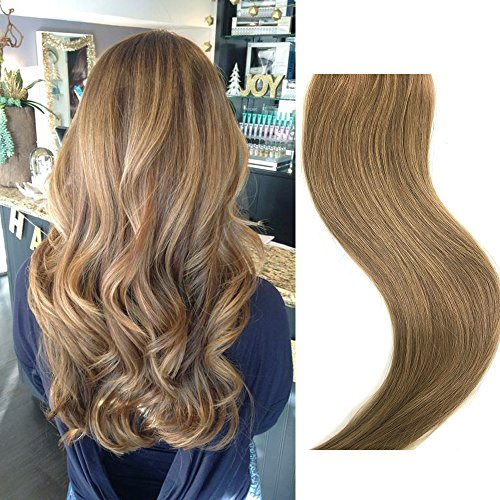 Clip in Human Hair Extensions Golden Brown 18 inches 70g Clip on for Fine Hair Full Head 7 Hair Piece Silky Straight Long Weft Remy Hair for Women -