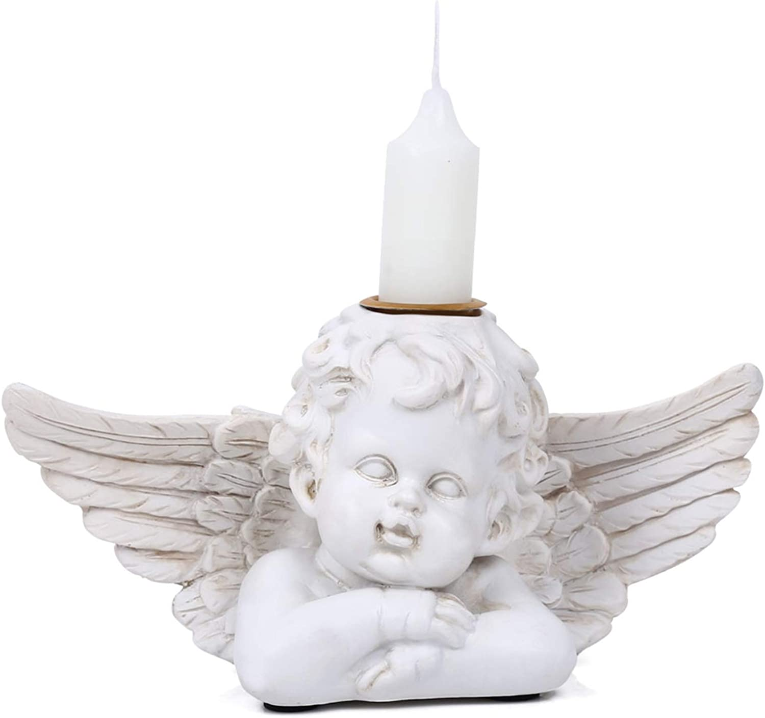 Angel Candle Holders Statue - Decorative Candlesticks Home Figurine Sculpture Table Decor for Fireplace, Living or Dining Room Table, Gifts
