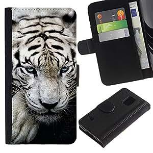 iKiki Tech / Cartera Funda Carcasa - Tiger White Big Stripes Albino Wild Blue Eyes - Samsung Galaxy S5 V SM-G900
