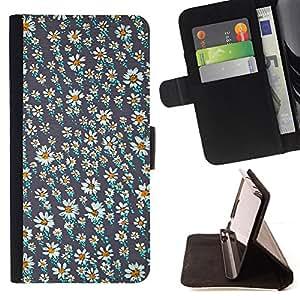 """For Samsung Galaxy Note 5 5th N9200,S-type Papel pintado de la margarita Gris Blanco Verano"""" - Dibujo PU billetera de cuero Funda Case Caso de la piel de la bolsa protectora"""