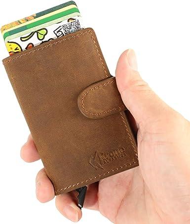 Genuine Leather Slim Front Pocket Card Case Credit Card Holder 7 Slots Wallet Brown