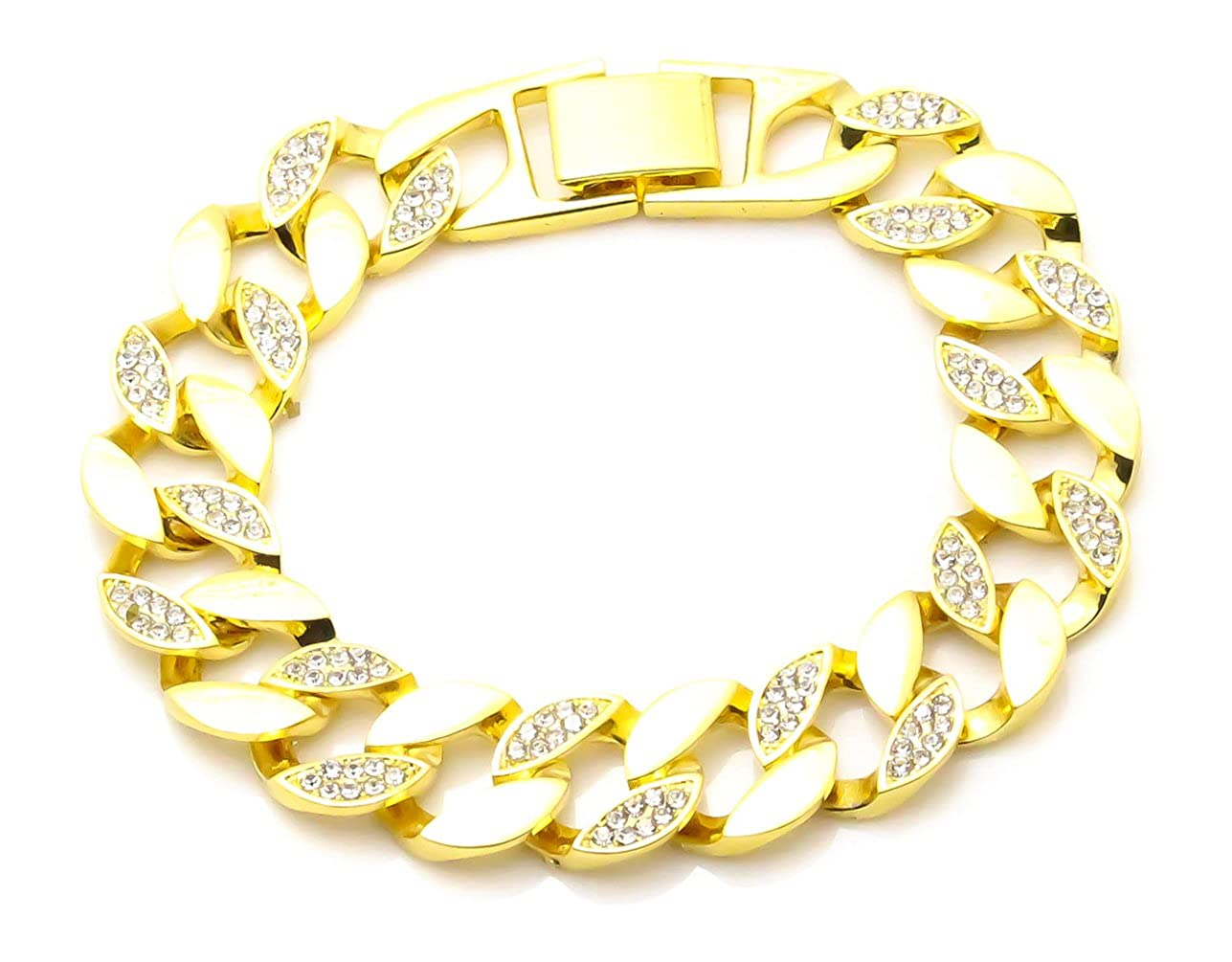 Fusamk Hip Hop Plated 18K Gold Stainless Steel Iced Out Crystal Cuba Chain Bracelet, 8.5inches KLEzbbt501-Gold